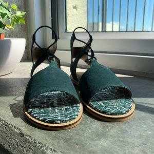 Lucky Brand Feray Leather Flat Sandal in Green